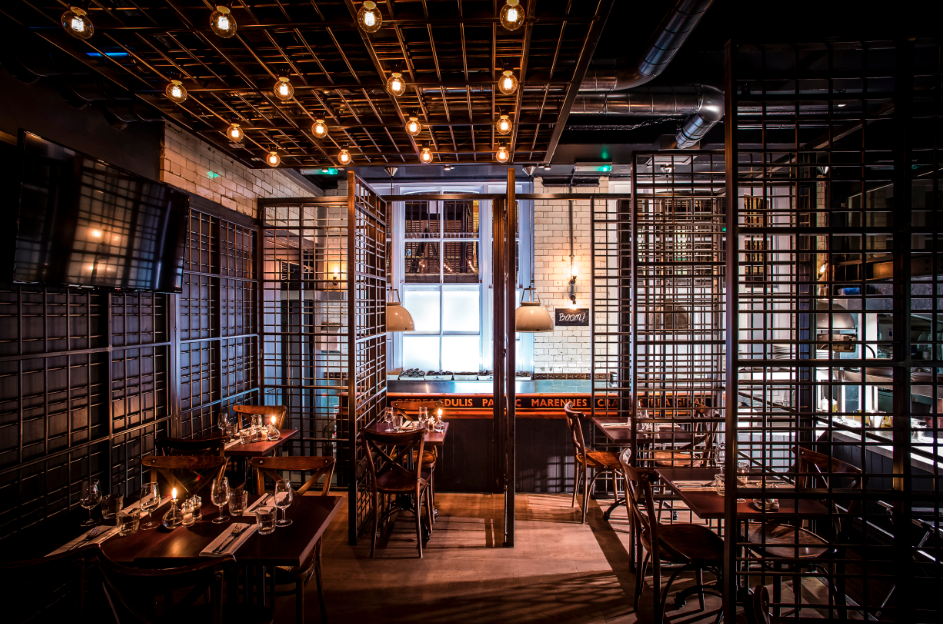 Wright brothers oyster house seafood surfboards in for Best private dining rooms soho