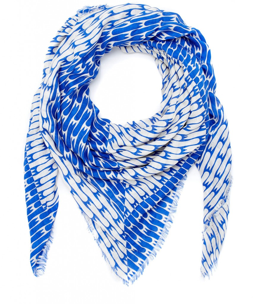 sophie hulme Blue Chip Fork Repeat Modal Scarf